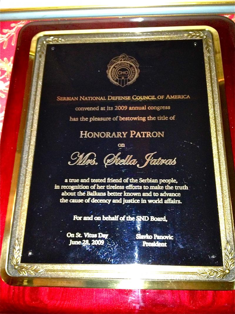 Serbian history 101 in memorium stella jatras another award from the serbian national defense council of america 2009 yelopaper Choice Image
